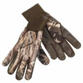 Deerhunter Fleece Gloves w. leather - kamuflážne flisové rukavice